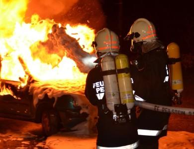 Fahrzeugbrand bei Einsatzübung